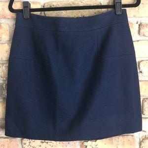 J. Crew Navy Felted Wool Mini Skirt